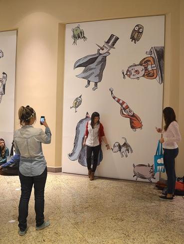 Painel para fotos dos visitantes.