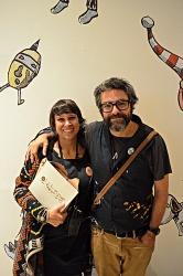 Bebel Abreu e Liniers pouco antes de começar a sessão de autógrafos.